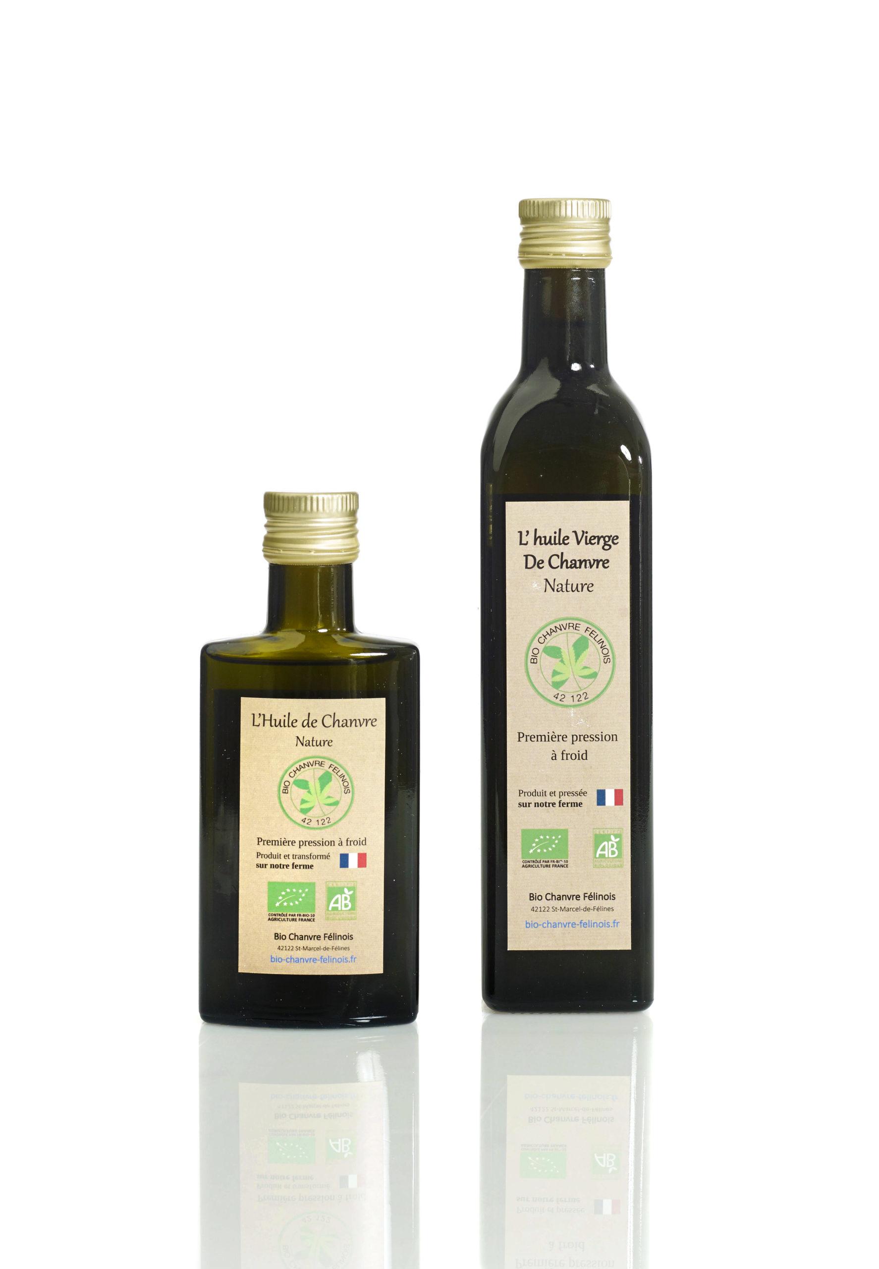 huile de chanvre bio bouteilles en verre